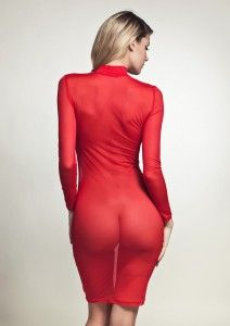 Blonde ass in transparent dress