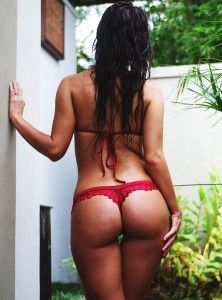 Red thong, nice ass