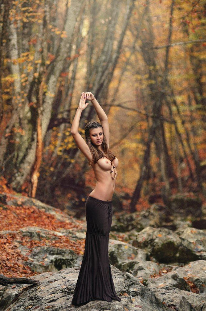 sexy topless in autumn