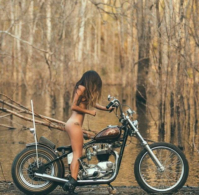 nude women posing on motorcycles