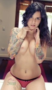 Topless sexy tatto girl in thong
