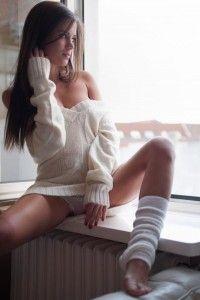 White stockings, beautiful girl