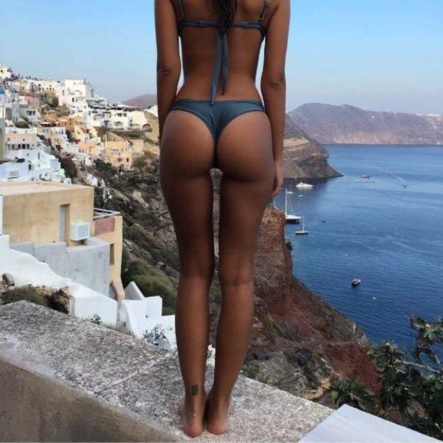 Bikini blue thong, sexy ass