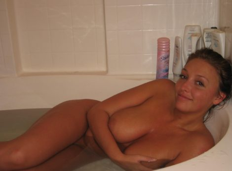 Sexy at bath, amateur boobs