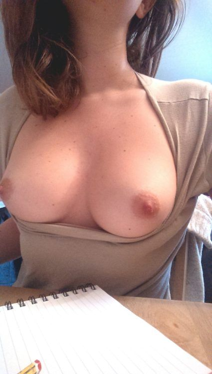Selfie boobs at work
