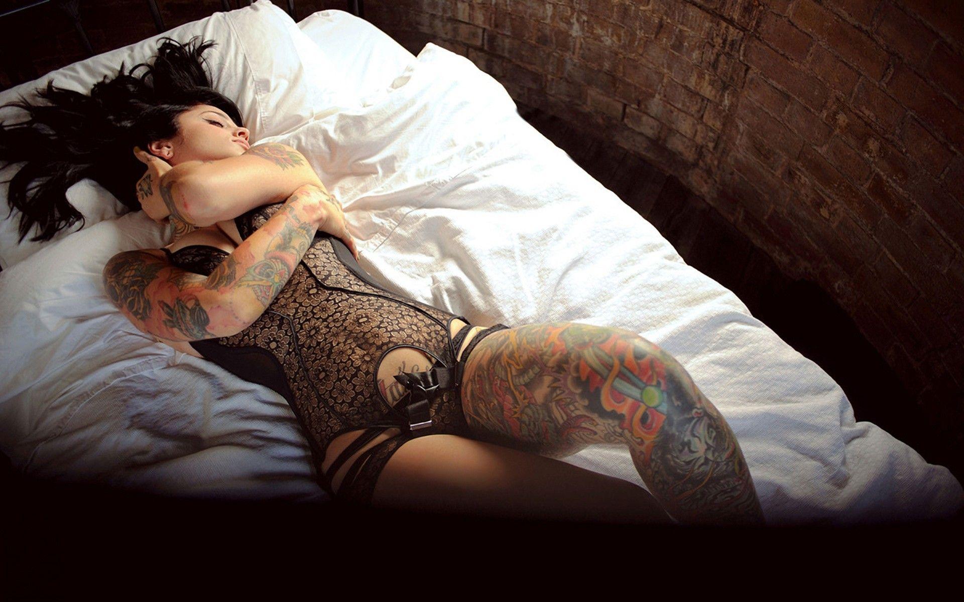 Girl brunette lingerie tattoo hot beauty nice sexy