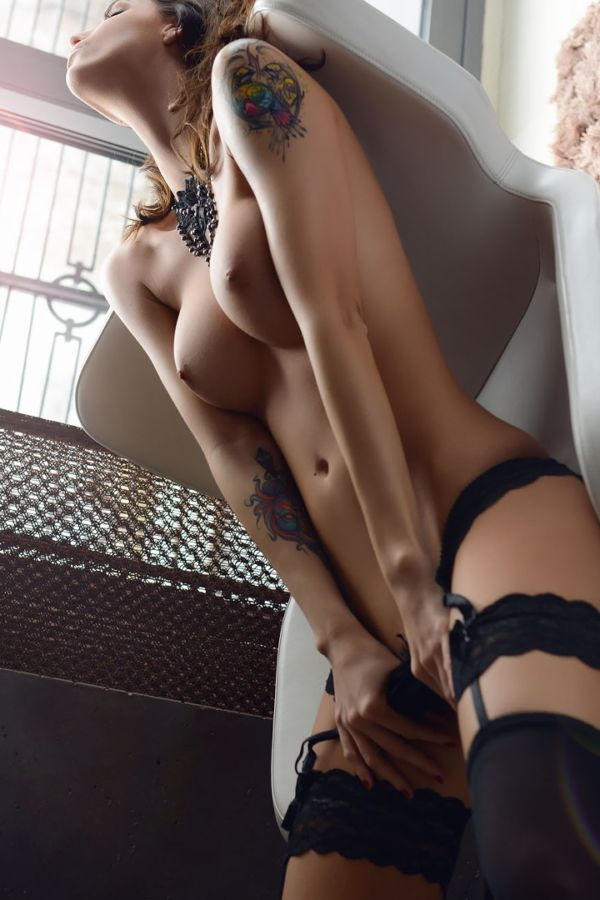 tatted girl and black lingerie