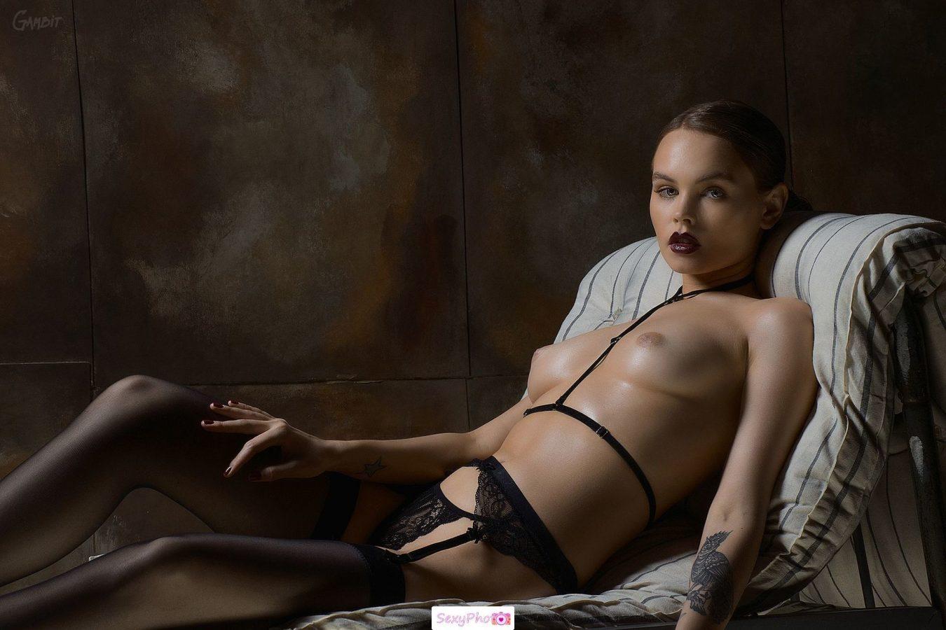 Anastasiya Scheglova topless in stockings