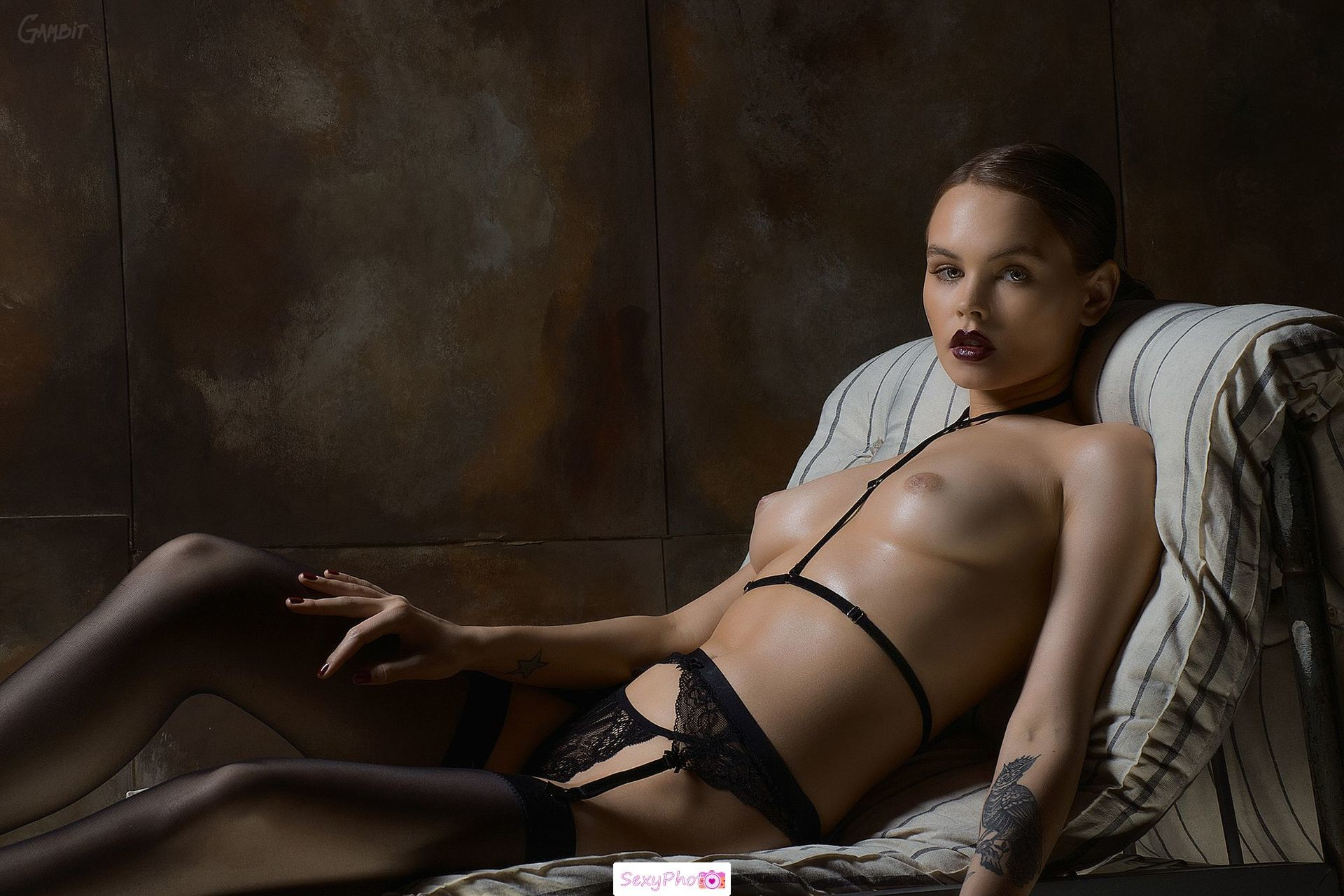 Anastasiya Scheglova topless in stockings
