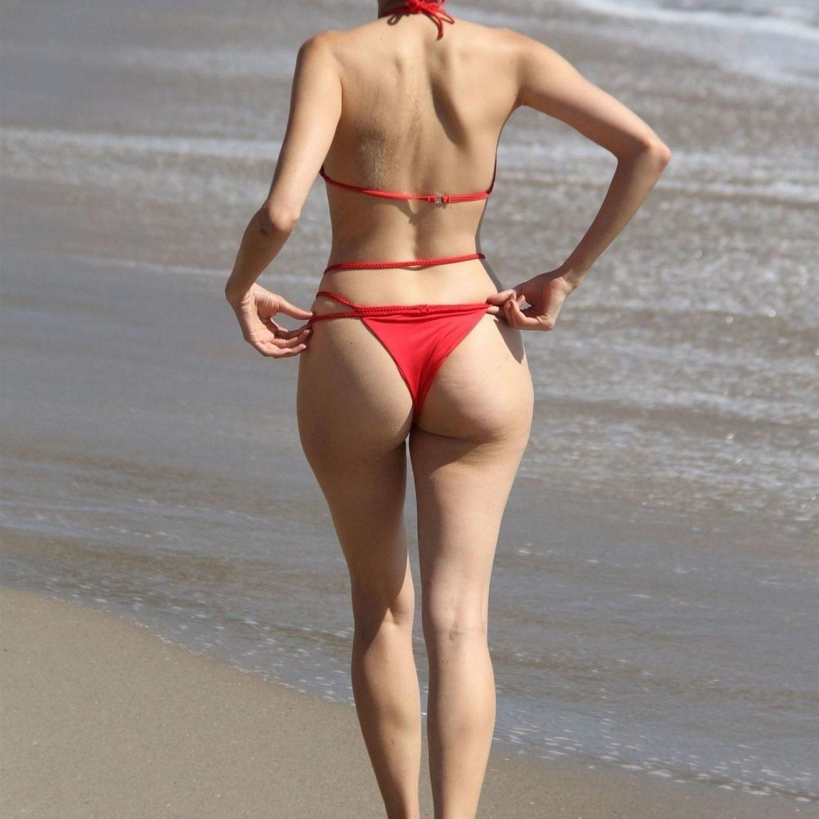 Blanca Blanco in red bikini