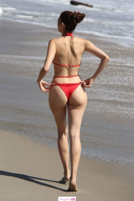 Blanca Blanco in red bikini
