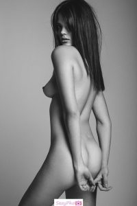 Meghan Wiggins fully nude black-&-white photo