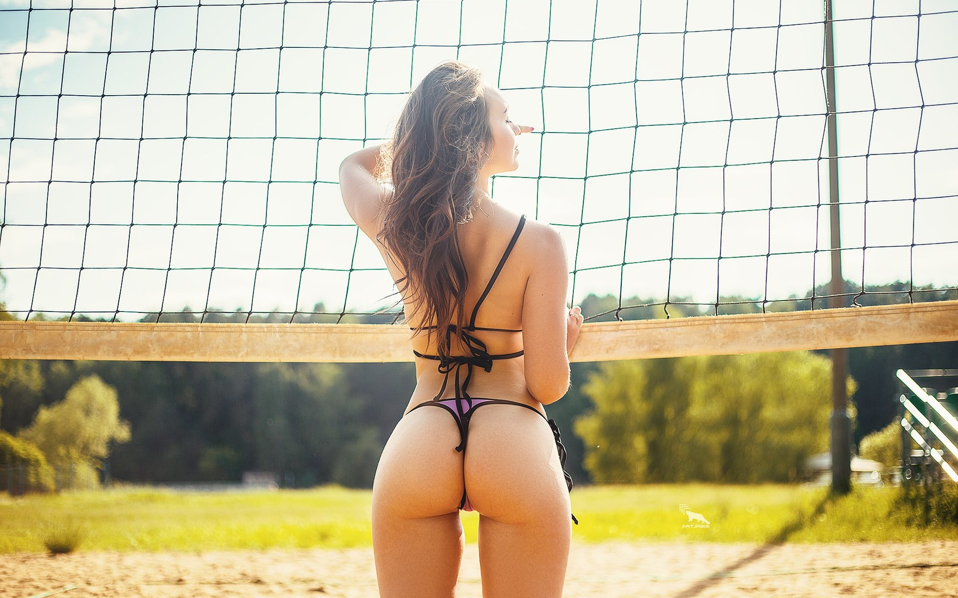 women-brunette-purple-bikini-beach-volleyball-sand-ass-