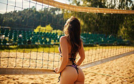 women-brunette-purple-bikini-beach-volleyball-sand-ass